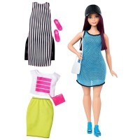 Barbie Fashionistas - Lalka z ubrankami So Sporty, Curvy Dark-Haired DTF01